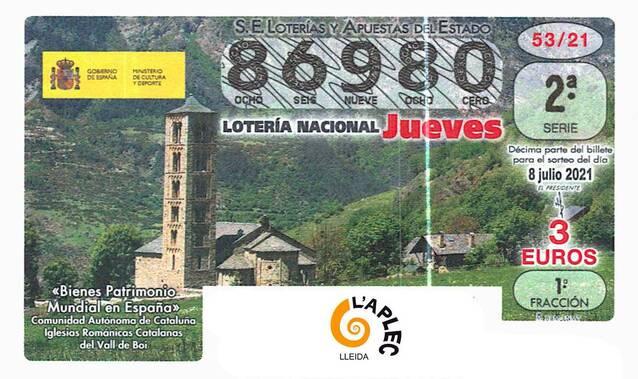 8 de juliol: L'Aplec juga el 86.980 en el sorteig que la loteria nacional dedica al patrimoni mundial, amb el romànic de la Vall de Boí com a protagonista
