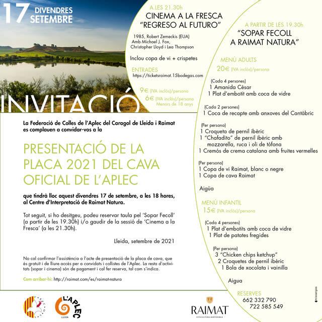 Presentació de la placa 2021 del cava oficial de l'Aplec, amb sopar i cinema a Raimat Natura
