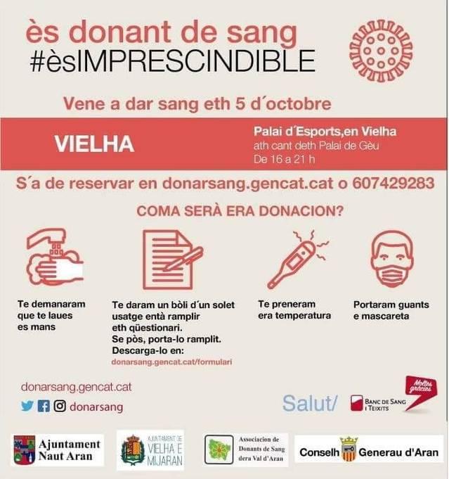 Aué, deluns 5 d'octobre, de 16'00 a 21'00 ores en Palai d'Espòrts de Vielha, jornada de donacion de sang