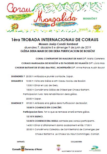 Deman, dimenge 9 de junh, concèrt en Bossòst damb motiu dera 1èra trobada internacionau de Coraus