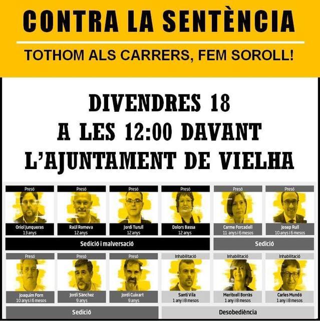 Deman, diuendres 18 d'octobre tàs 12 deth meddia, concentracion en Vielha contra era senténcia as politics catalans