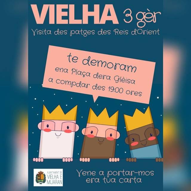Deman, diuendres 3 de gèr, es patges des Reis d'Orient visitaràn Vielha tàs 19 ores