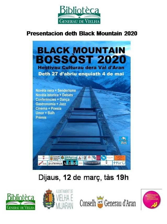 Eth dijaus 12 de març, presentacion deth hestau literari Black Mountain Bossòst 2020