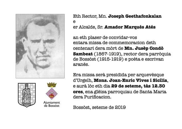 Eth dimenge 29 de seteme, Bossòst celebrarà eth centenari dera mòrt de Mn. Jusèp Condò