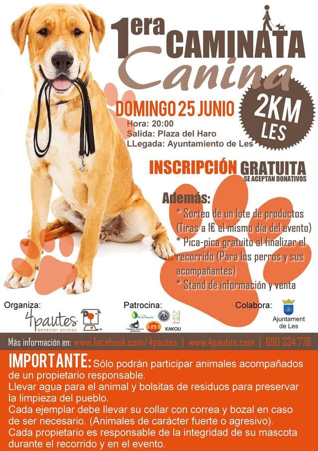 Prumèra Caminata Canina organizada pera associacion 4Pautes