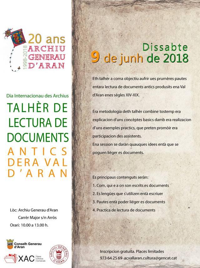 Talhèr de lectura de documents antics entà commemorar eth 20au anniversari der Archiu Generau d'Aran