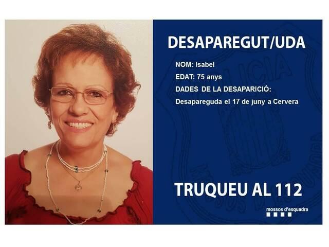 Busquen una dona desapareguda a Cervera