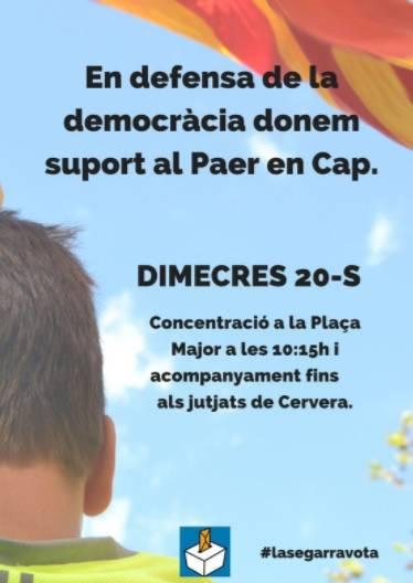 Els alcaldes de Cervera i Guissona declaren aquest dimecres pel seu suport al referèndum