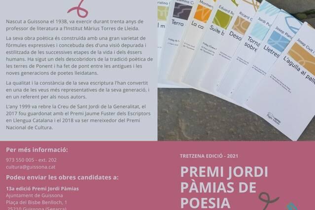 Guissona convoca el 13è Premi Jordi Pàmias de Poesia