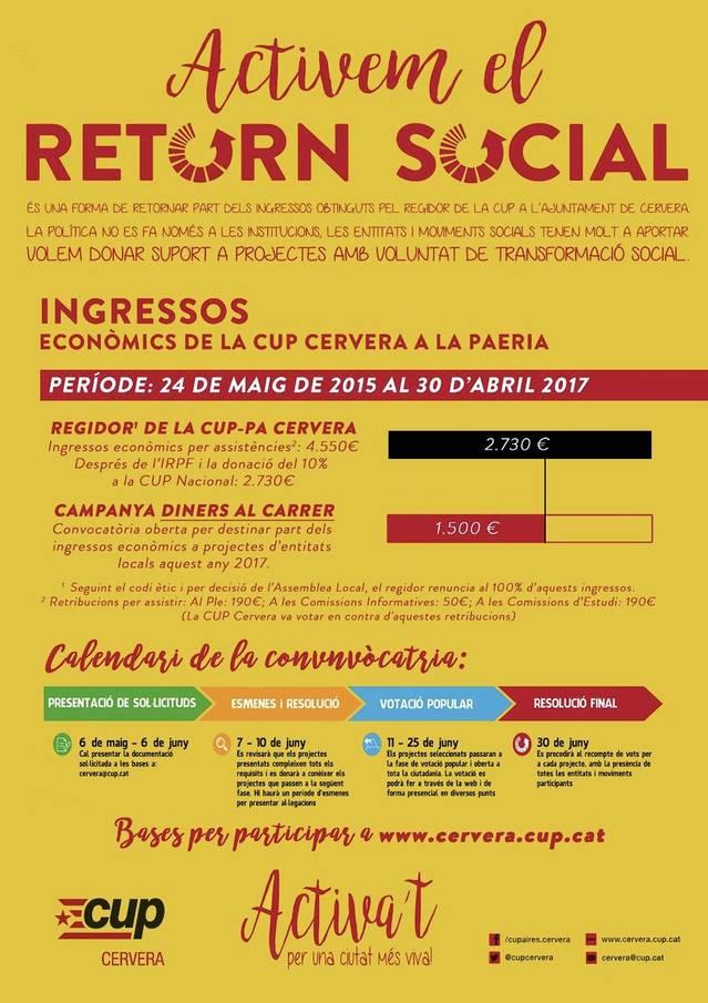 La CUP de Cervera destinarà part dels seus fons econòmics a ajuts per a projectes socials de la ciutat