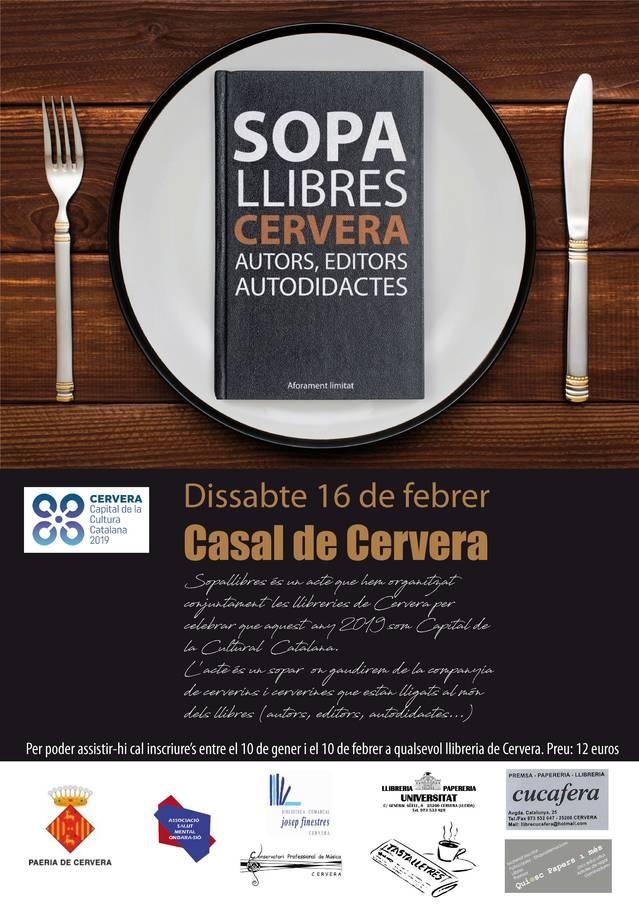 La literatura, protagonista de Cervera Capital de la Cultura Catalana 2019, amb el sopar literari 'Sopallibres