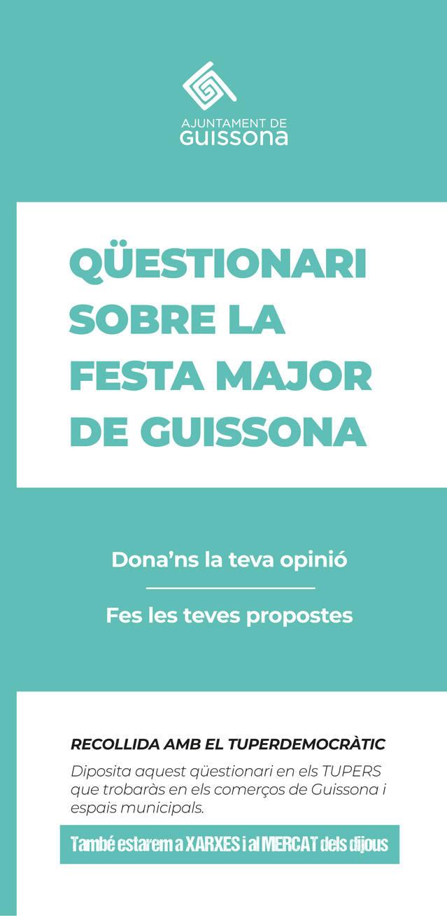 La població de Guissona podrà opinar sobre el model de Festa Major