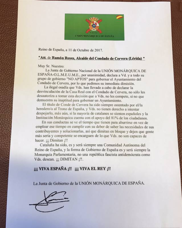 La Unió Monàrquica d'Espanya respon a Ramon Royes