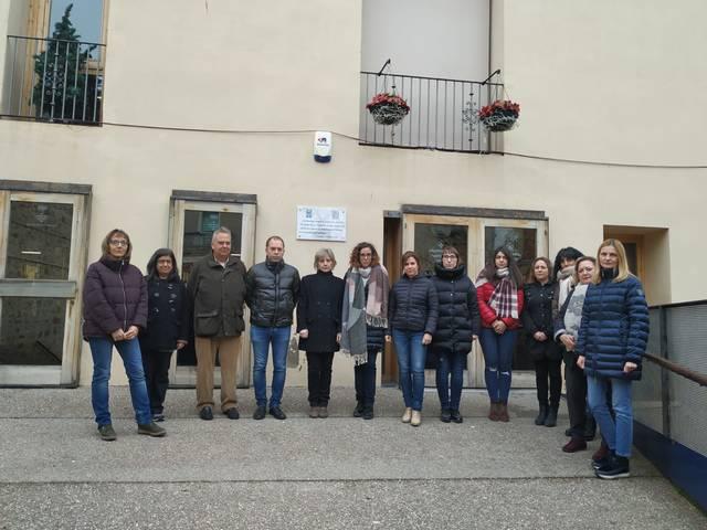 Treballadors de l'Ajuntament de Guissona durant l'acte.