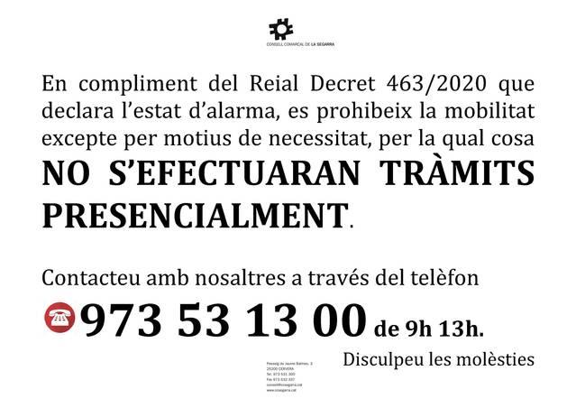 Nou horari d'atenció telefònica del Consell Comarcal de la Segarra