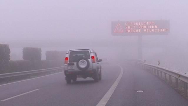 Autopistes ha activat el Pla d'Autoprotecció PAU en alerta per boira molt densa