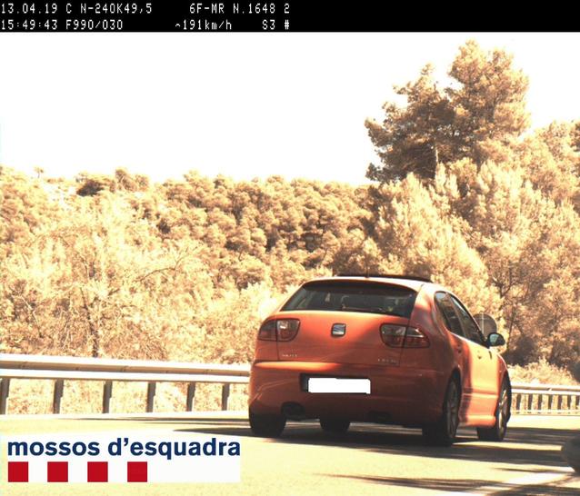 Caçat a 191 km/h per l'N-240 a Tarrés