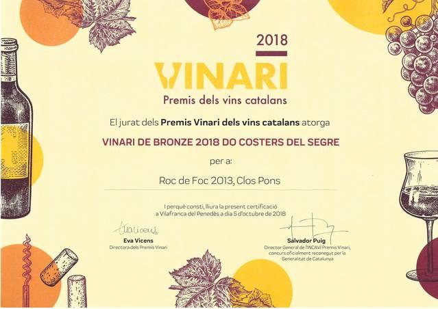 El celler Clos Pons rep tres guardons als premis Vinari 2018
