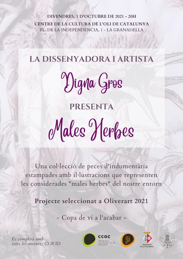 """El Centre de l'oli de la Granadella inaugura una exposició de l'artista Digna Gros amb dissenys de roba estampats amb motius de """"males herbes"""""""