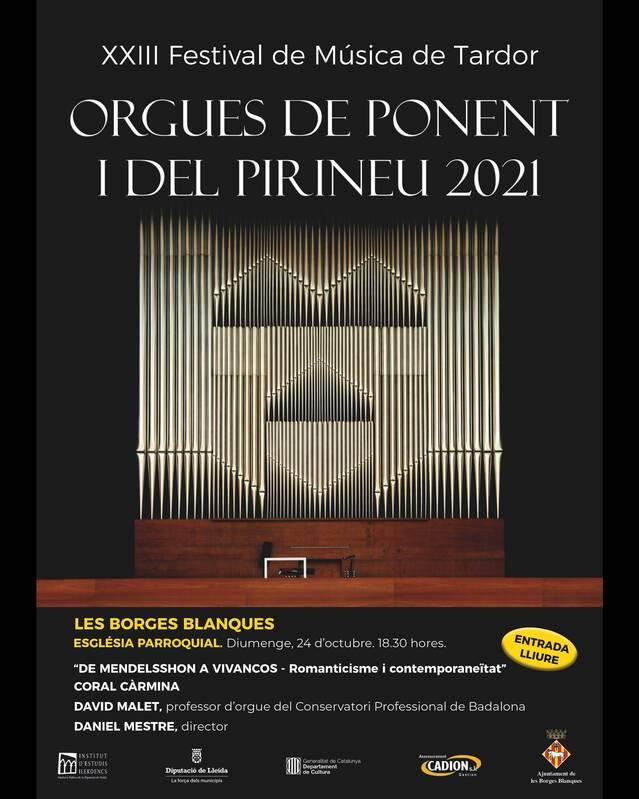 Les Borges torna a participar al Festival Orgues de Ponent i del Pirineu amb un concert de David Malet i la Coral Càrmina