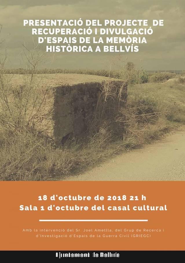 Bellvís presenta un projecte per recuperar i divulgar els espais de la memòria històrica
