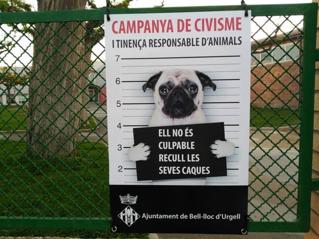 Campanya a Bell-lloc d'Urgell per a conscienciar sobre la recollida dels excrements dels gossos
