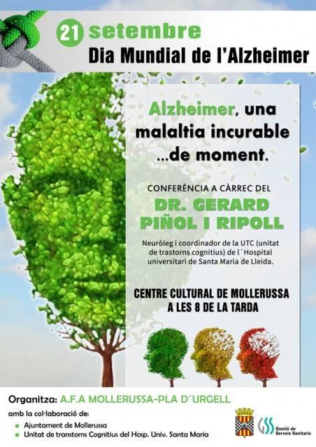 Mollerussa celebra el Dia Mundial de l'Alzheimer amb una xerrada del neuròleg Gerard Piñol al Centre Cultural