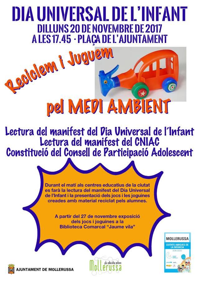Mollerussa celebra el Dia Universal de l'Infant amb actes als centres escolars i la lectura d'un manifest