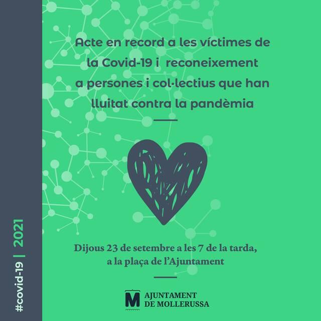 Mollerussa ret homenatge aquest dijous a les víctimes de la Covid-19 i a entitats que ha estat en primera línia