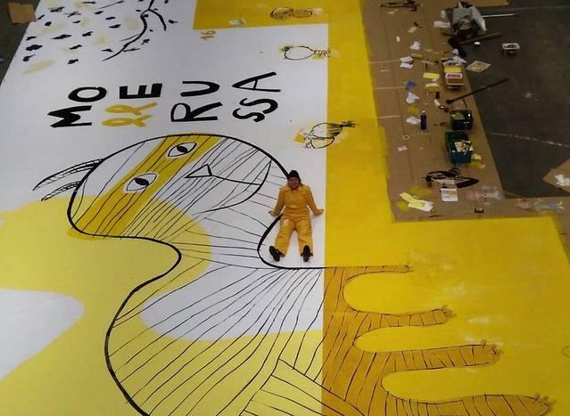 Un mural de Mercè Galí dóna la benvinguda al 34è Saló del Llibre Infantil i Juvenil, que aquest dimecres obre portes