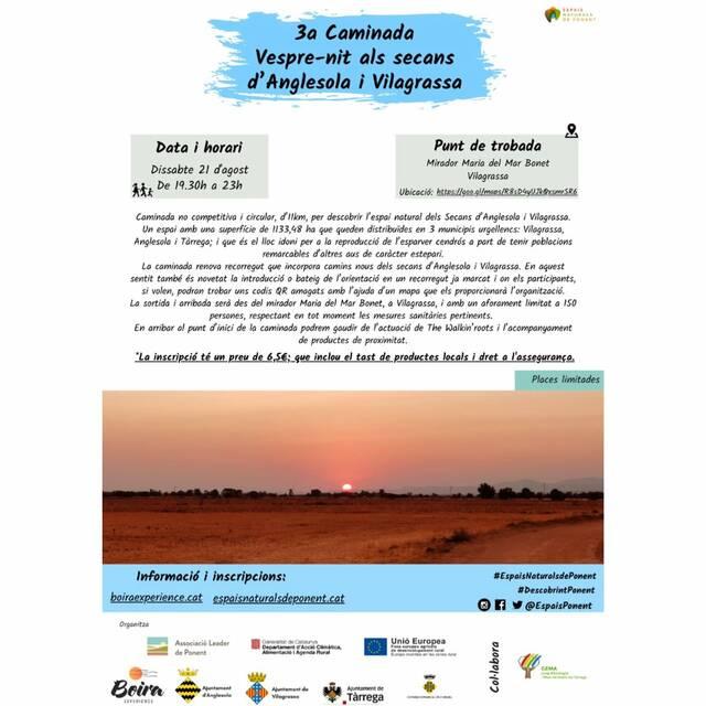 Arriba la 3a edició de la 'Caminada als Secans d'Anglesola-Vilagrassa'