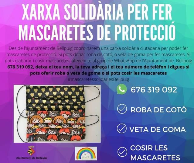 Bellpuig coordina una xarxa de mascaretes solidàries