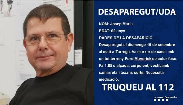 Busquen un veí de 62 anys desaparegut a Tàrrega des de fa tres dies
