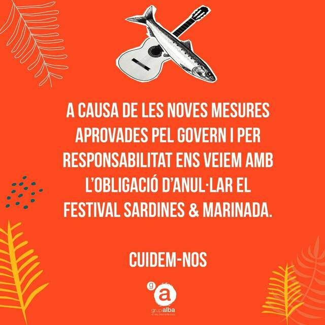 El Grup Alba cancel·la el Sardines & Marinada a causa de la pandèmia