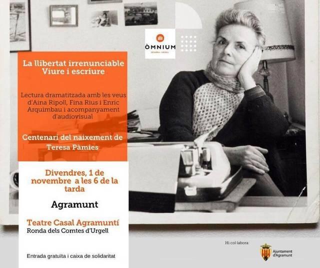 El Teatre Casal Agramuntí acollirà una lectura dramatitzada sobre Teresa Pàmies