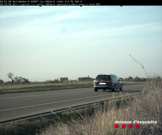 Caçat un conductor que circulava a 190 km/h per la C-14 al terme municipal de Ciutadilla