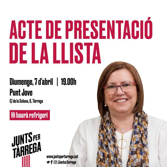 Junts per Tàrrega presenta diumenge la llista per a les eleccions municipals