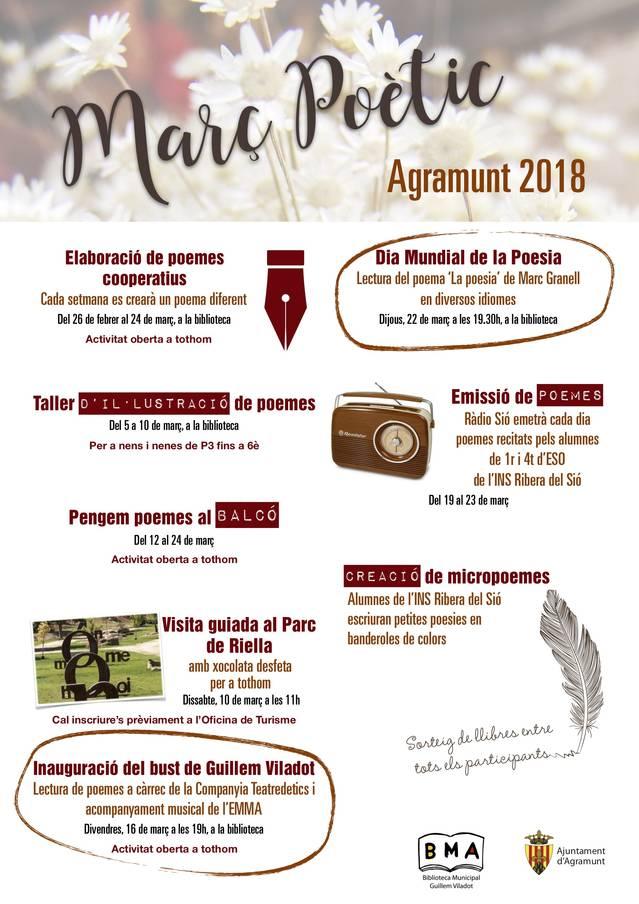 La Biblioteca d'Agramunt commemora el Dia Mundial de la Poesia amb activitats durant el mes de març