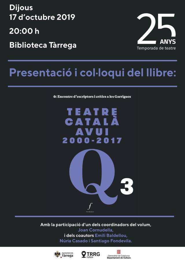 Presentació del llibre 'Teatre català avui 2000-2017', dijous dia 17 a les 20h del vespre