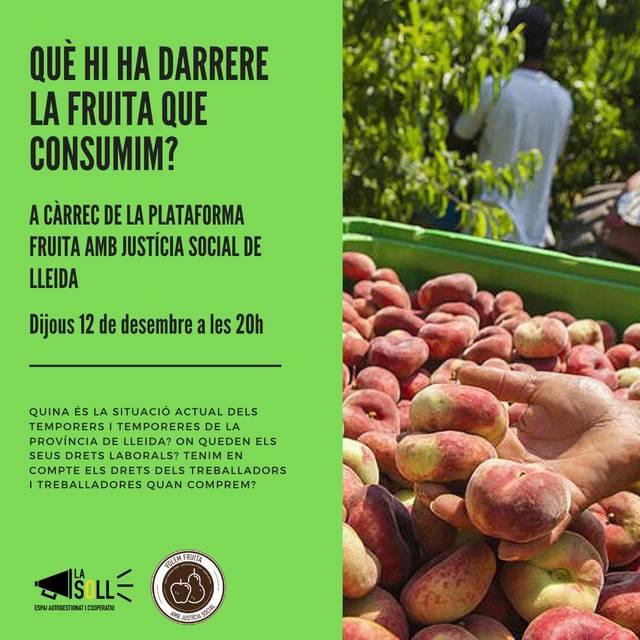La Soll organitza aquest dijous la xerrada 'Què hi ha darrere la fruita que consumim?'
