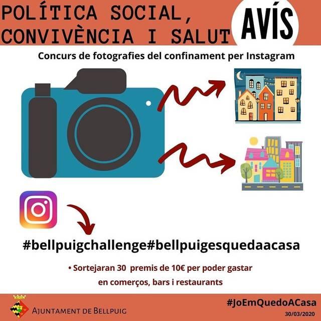 L'Ajuntament de Bellpuig organitza un concurs de fotografies del confinament per Instagram