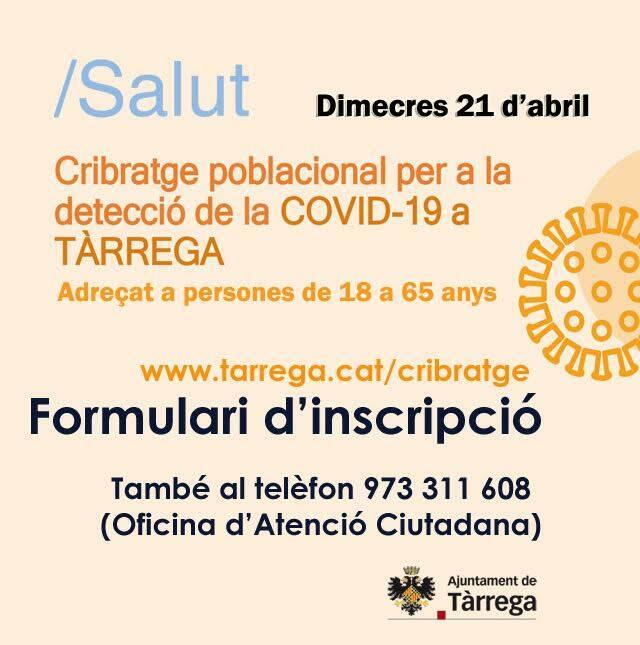 Tàrrega acollirà dimecres el primer cribratge massiu de Catalunya amb PCR d'automostra