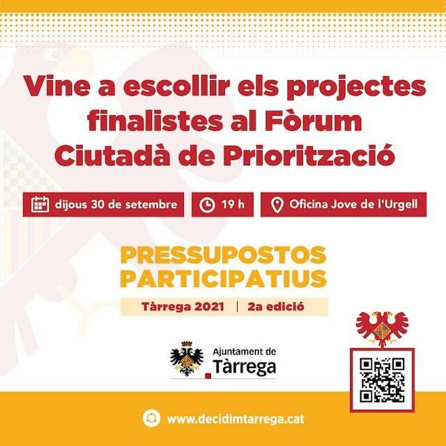 Tàrrega convida la ciutadania a escollir els projectes que se sotmetran a votació en els segons pressupostos participatius