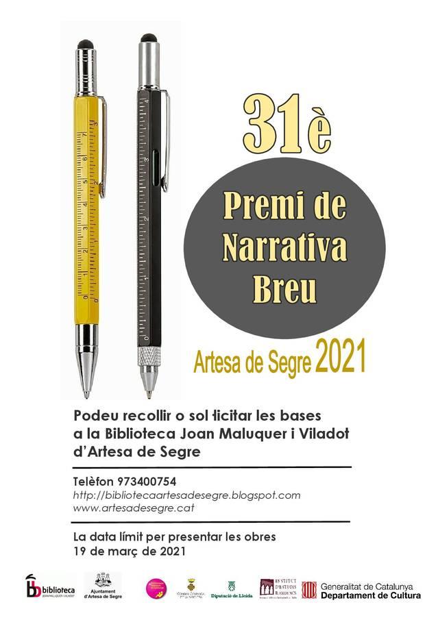 31è Premi de Narrativa Breu a Artesa de Segre