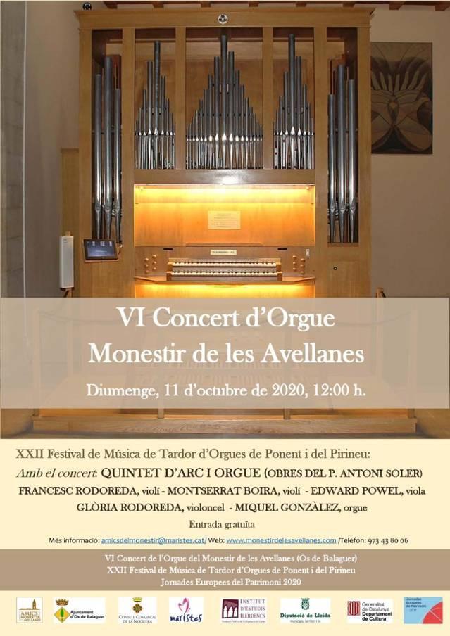 6è Concert d'orgue de tubs del Monestir de les Avellanes
