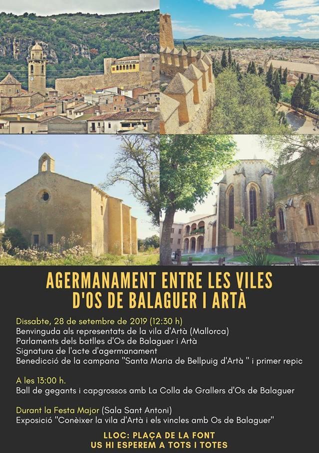 Agermanament entre els pobles d'Os de Balaguer i Artà (Mallorca)