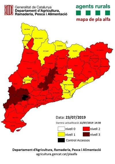 Agricultura alerta de l'alt risc d'incendi a partir de demà