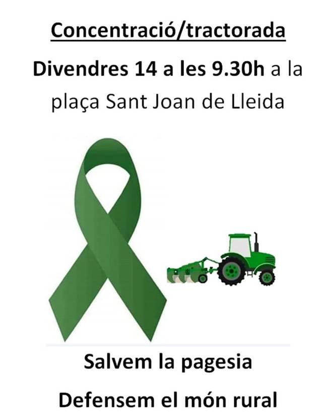 ASAJA Lleida convoca tots els pagesos del territori a la concentració/tractorada del pròxim divendres a Lleida en defensa del món rural