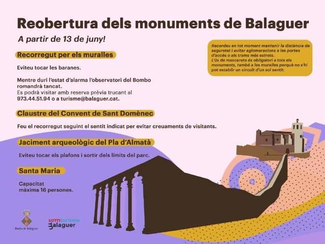Balaguer reobre els seus monuments el 13 de juny