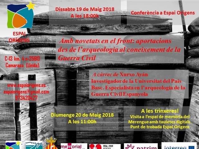 """Conferència """"Amb novetats en el front: aportacions des de l'arqueologia al coneixement de la Guerra Civil"""""""